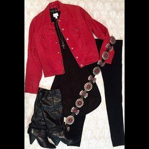 Jackets & Coats - Red Vintage Suede Jacket, Medium